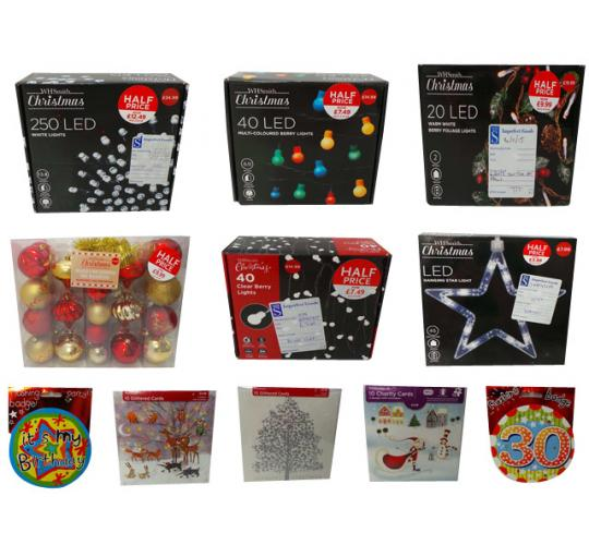 One Off Joblot of 136 Christmas & Birthday Items Lights Decorations Cards Etc