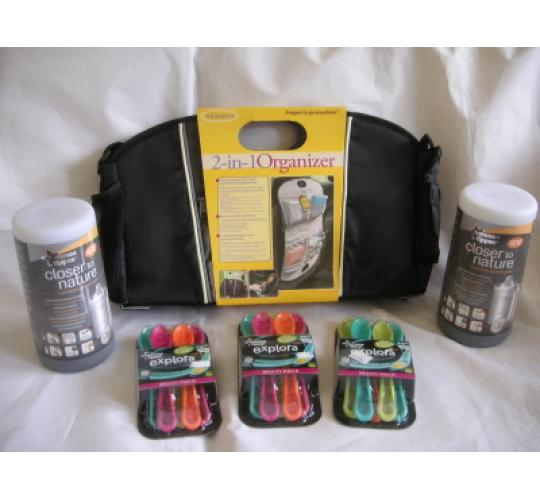 Baby Products - Tommee Tippee Travel Bottle Warmers and Spoons and Infantino Car Organizers