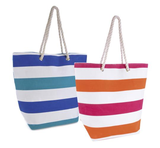 Wholesale Joblot Of 24 Stripe Canvas Bags With Rope Handles- BB0898