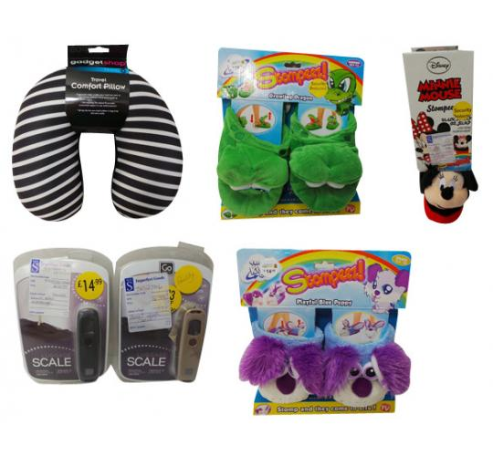 One Off Joblot of 23 Travel Pillows & Scales and Stompeez Slippers