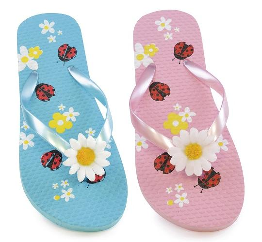 Clearance Parcel Of 48 Kids Flower Ladybird Print Flip Flops -FT0874