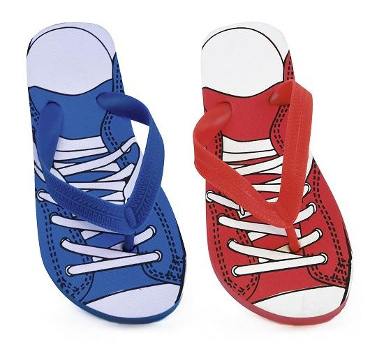 Wholesale Job Lot of 60 Kids Trainer Print Flip Flop In Red and Blue -FT0869