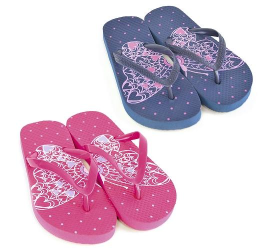 Clearance Parcel of 60 Girls Butterfly Half and Half Flip Flops -FT0814