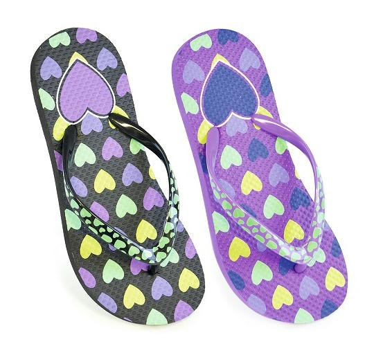 Clearance Parcel of Mixed 48 Girls Printed Heart Flip Flops- FT0816