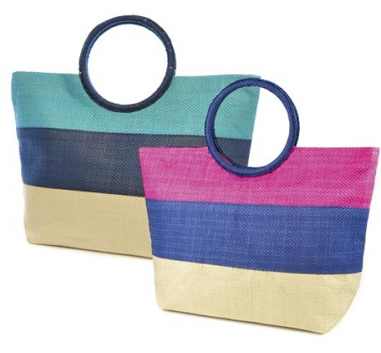 Clearance Parcel of 24 Mixed Striped Ring Handled Beach Bag - BB0855