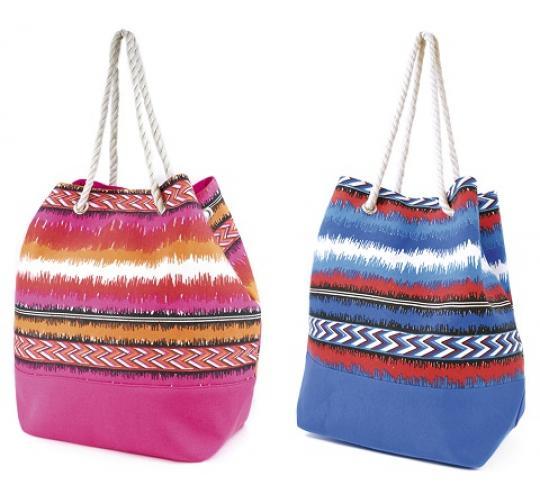Wholesale Job Lot of 24 Mixed Striped Canvas Drawstring Bags - BB0853