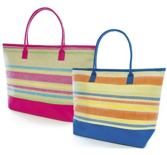 Wholesale Job Lot of 24 Mixed Woven Striped Ladies Bag - BB0873