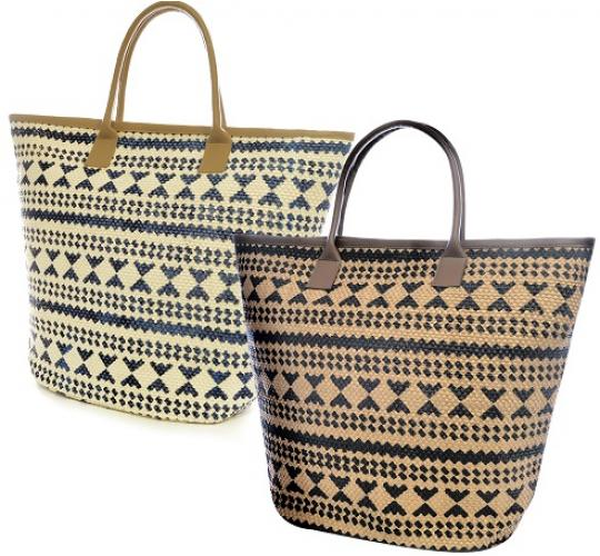 Wholesale Parcel of 24 Aztec Print Ladies Paper Straw Bags - BB0878