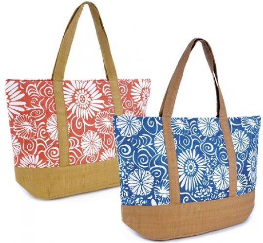 Wholesale Clearance of 24 Floral Print Paper Straw Bag - BB0900
