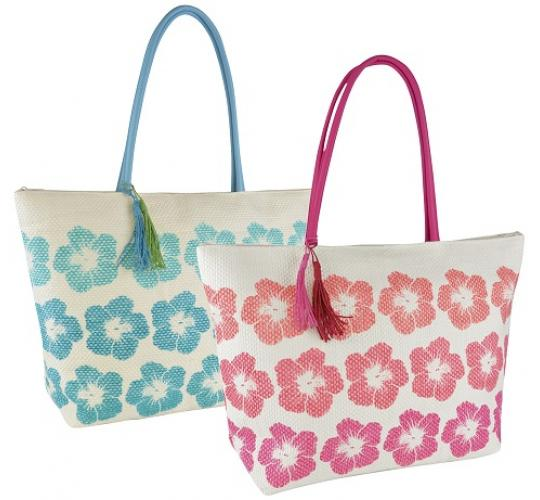 Wholesale Job Lot of 24 Ladies Paper Straw Floral Print Handbags -BB0890