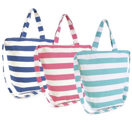 Wholesale Job Lot of 36 Mixed Ladies Striped Canvas Bags - BB0893