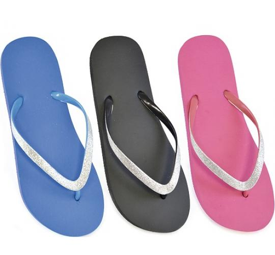 Clearance parcel of 48 Ladies Plain Colour Flip Flop With Glittery Strap -FT0772
