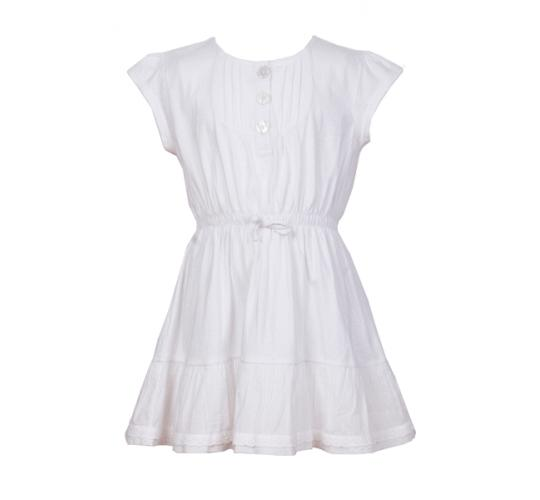 Joblot of 120 designer girls cotton jersey white dress with lace trims in sizes 2,4,6,8,10, 12.