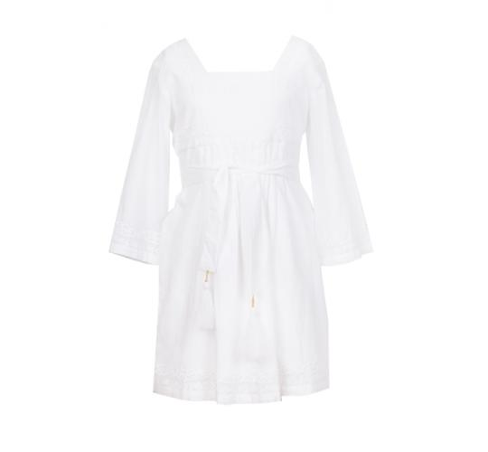 Joblot of 110 girls designer white cotton long sleeve dress with embrodiery across sizes 2,4,6,8,10,12