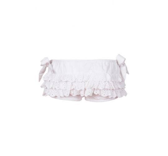 Joblot of 150 designer girls frill bloomers (shorts) in soft 100% Indian cotton with lace trims sizes 2 and 4