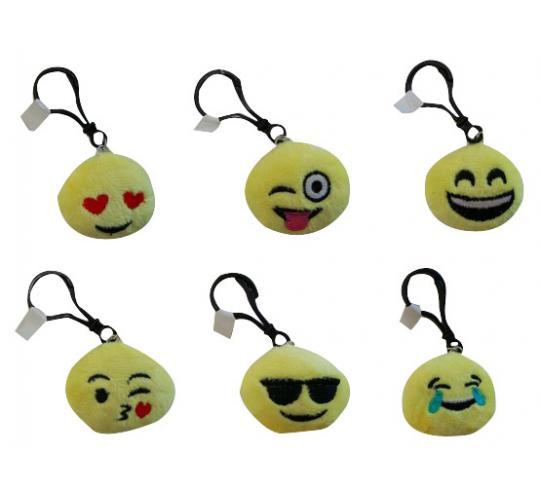 Wholesale Joblot of 100 Yellow Emoji Key Rings Various Facial Expressions