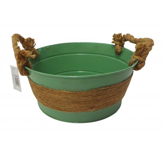 Wholesale Joblot of 180 Tbl Fitzrovia Jute Sage Zinc Bowls With Handles 3 Sizes