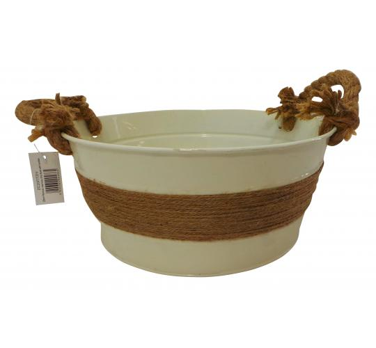Wholesale Joblot of 180 Tbl Fitzrovia Jute Ivory Zinc Bowls With Handles 3 Sizes