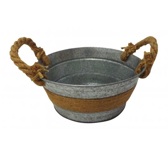 Wholesale Joblot of 60 Tbl Fitzrovia Jute Antiqued Zinc Bowl With Handles 20cm