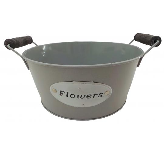 Wholesale Joblot of 60 Tbl Pinner Grey Bowls With Metal Plaque 'Flowers' 20cm