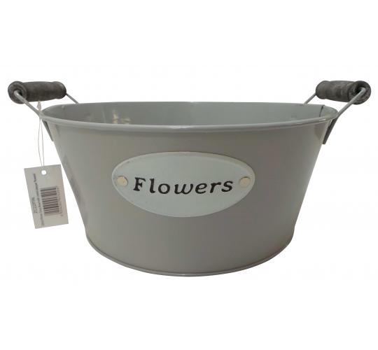 Wholesale Joblot of 54 Tbl Pinner Grey Bowls With Metal Plaque 'Flowers' 22cm