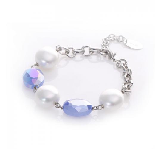 VIS Moment, 29x Fiji - Cream Seashell, Diamond Cut Metallic Blue Glass Rhodium Chain Necklace Bracelet RRP: £673