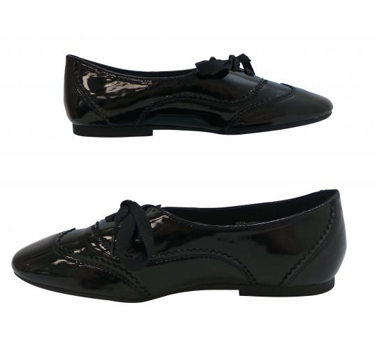Wholesale Joblot of 20 Ladies Black Ex High Street Shiny Brogues Sizes 4-8