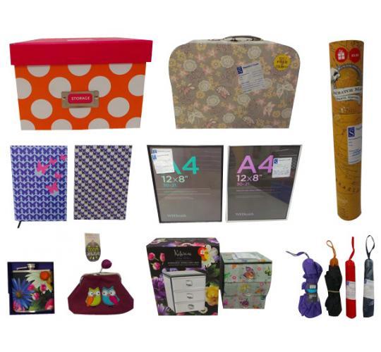 Joblot of 139 Assorted Items Storage Umbrellas Stationary Spray Paint Etc