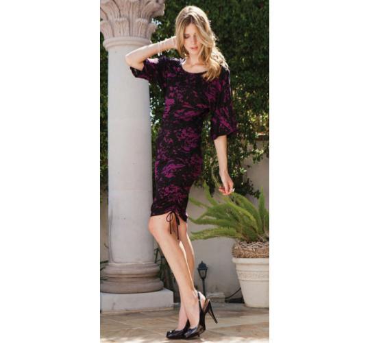 ecoSkin Black & Magenta Print Tencel Knit Dresses in Sizes XS-L