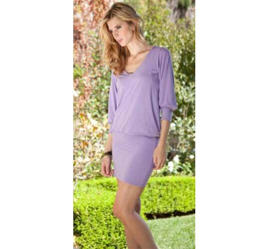 Women's Lilac Hooded Bamboo Dress in Sizes XS-L