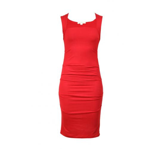 Womens Red Bamboo Tencel Knit Dresses