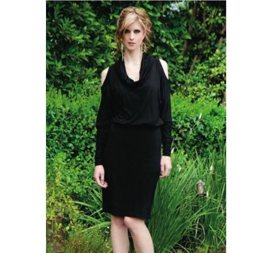 Women's Long Sleeve Bamboo Knit Dress in Black