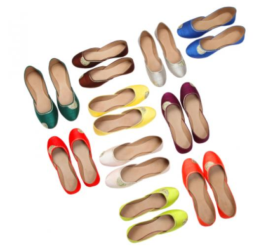 Leather and Raw Silk Handmade Ladies Flat Shoes
