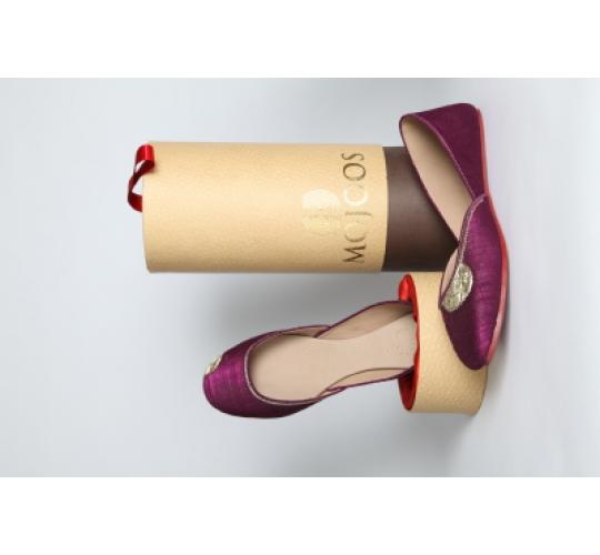 Handmade Leather & Raw Silk Ladies Flat Shoes