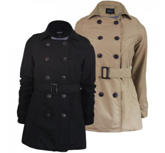 LADIES DOUBLE-BREASTED JACKET TRENCH MAC MILITARY COAT | BRAVE SOUL | UK SIZES 8-16