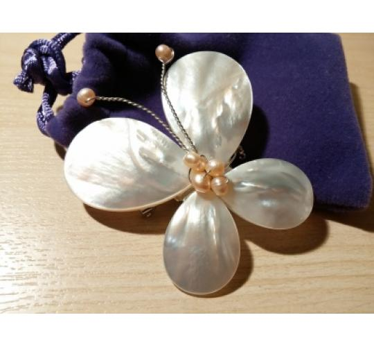 VIS Moment, Fiji - 47x Freshwater Pearl, Seashell Butterfly Brooch, RRP: £705