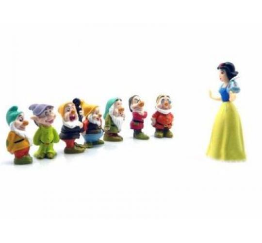 Snow White & Seven Dwarfs Cake Toppers - Set of 8 - Wholesale Lot