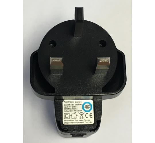 Black 3 Pin 500mA USB UK wall plug AC power adapter