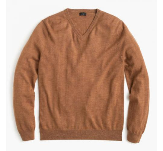 Men's Earthkeepers V-Neck Sweater Jumper Cotton Brown