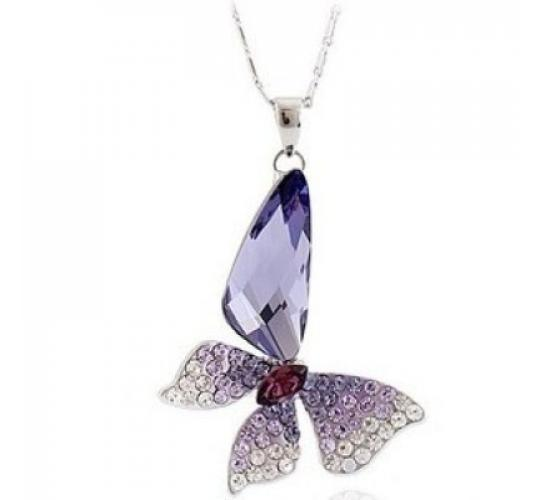Butterfly Wing Purple Pendant Necklace '16 - 18 inch Chain