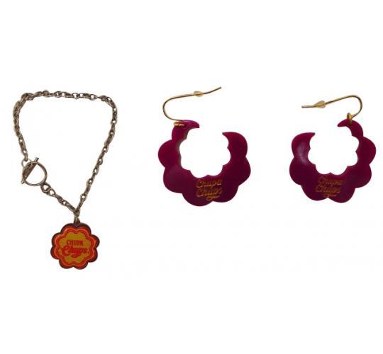 One Off Joblot of 32 Ladies Chupa Chups Chain Bracelets & Purple Earrings