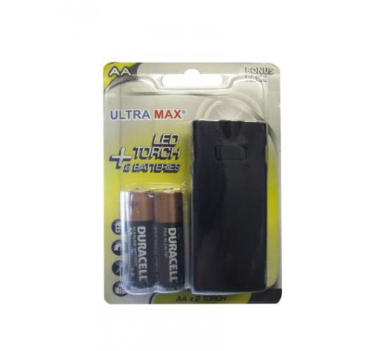 Ultramax LED Torch + 2 AA Duracell Batteries