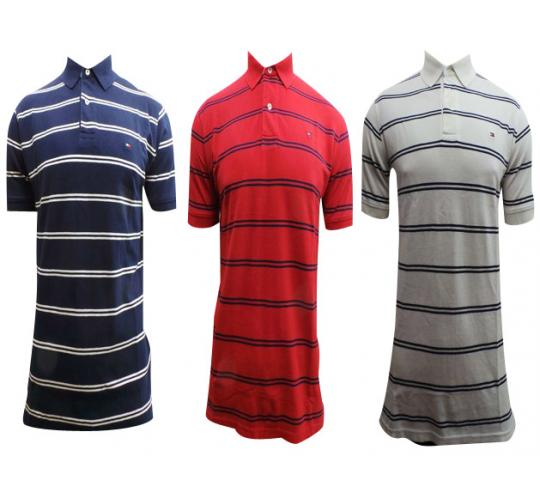 Wholesale Joblot of 10 Mens Tommy Hilfiger Striped Polo Shirts Mixed Colours