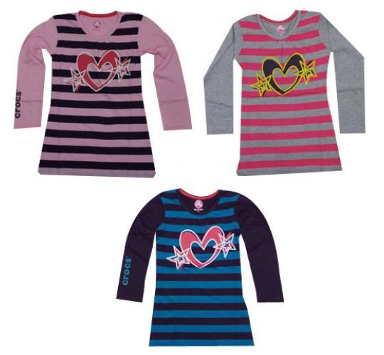 Wholesale Joblot of 10 Girls Crocs Long Sleeve Striped T-Shirts 3 Colours