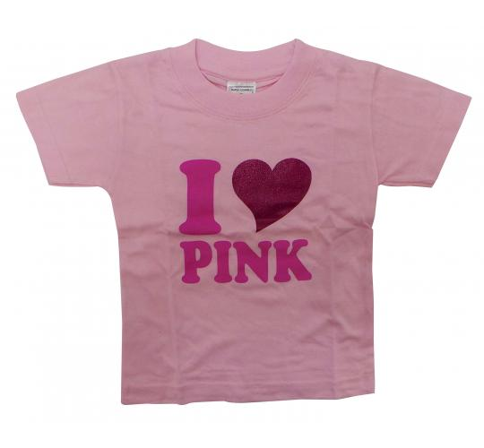 Wholesale Joblot of 10 Toddlers I Love Pink T-Shirts 3 Sizes Available