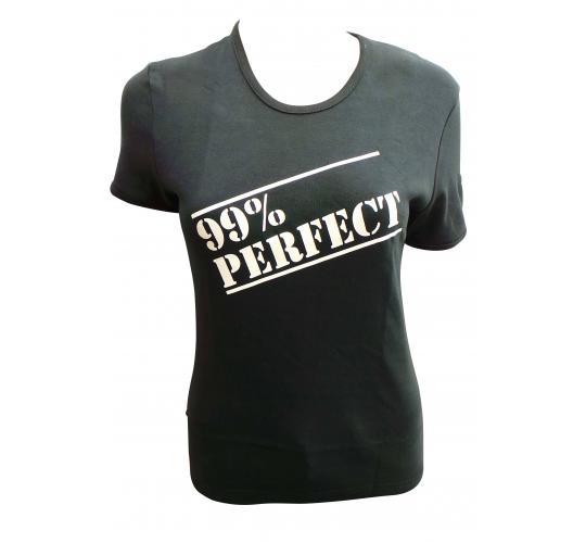 Wholesale Joblot of 10 Ladies '99% Perfect' Black T-Shirts Size Large