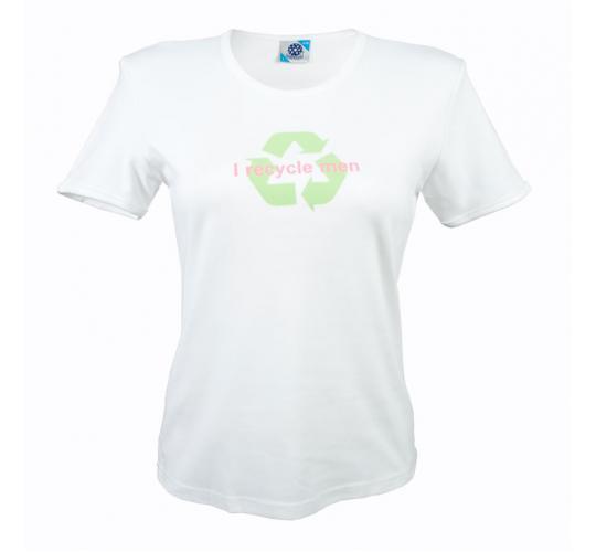 Wholesale Joblot of 10 Ladies 'I Recycle Men' White Novelty T-Shirts Sizes S-L