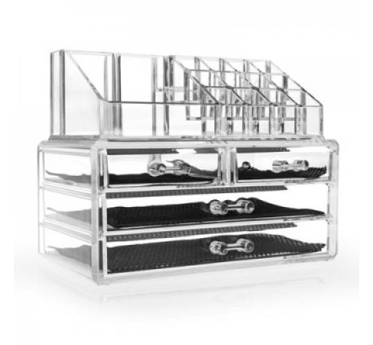 48 x Savisto Crystal Clear Make Up Organisers - 20 Sections, 4 Drawers
