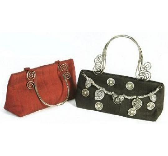 Ladies Raw Silk Evening Trinket Bags