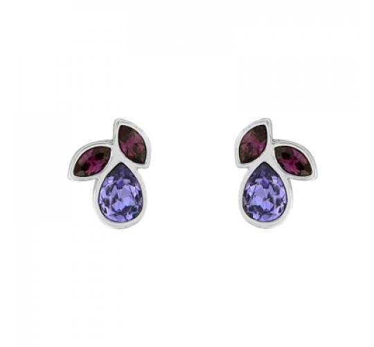 Base Metal Stud Earrings with Swarovski Crystals